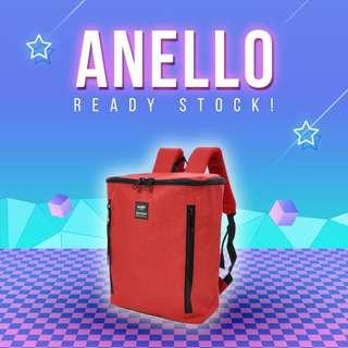 (Ready Stock) 100% Authentic Anello Black Zipper Square Rucksack (Dark Orange)