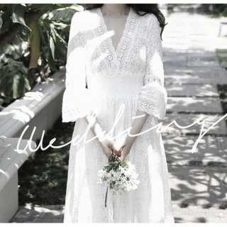 ❤FIFI❤Korea韓國連線(商品皆於100%正韓高質感商品)歐逆超美七分袖雕花女神白長洋裝