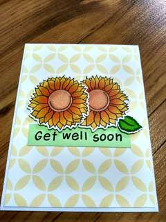 Hand made Get Well card - sunflowers with glitter