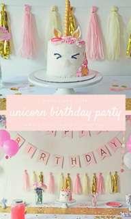 7 in 1 Unicorn Birthday Decoration
