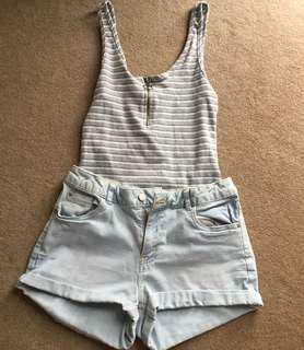 O ring knitted singlet top and light denim shorts