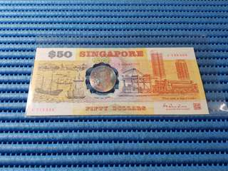 "1990 Singapore 25 Years of Independence $50 Commemorative Banknote A 139906 with Folder Error Faded ""1990"" Year"