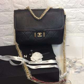 Chanel Quilted Double Compartment Flap Chain Bag