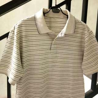 #maudecay white stripes polo blouse