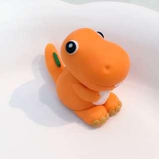Customized t-rex dinosaur cake or cupcake fondant topper