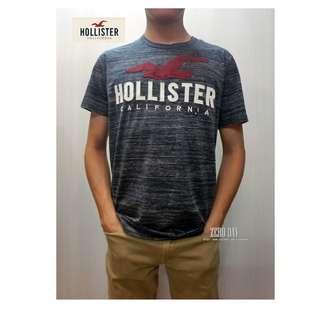 美國帶回真品A&F副牌HCO Hollister co. LOGO GRAPHIC TEE美式海鷗字母貼布短T-深灰色