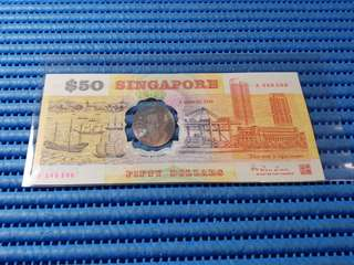 1990 Singapore 25 Years of Independence $50 Commemorative Banknote A 246506 with Folder