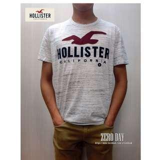 美國帶回真品A&F副牌HCO Hollister co. LOGO GRAPHIC TEE美式海鷗字母貼布短T-淺灰色