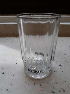 Vintage Nescafe glass tumbler with black logo ×2