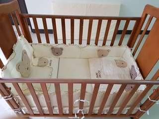 BeBe Amico 歐風白楊木大床組 實木嬰兒床