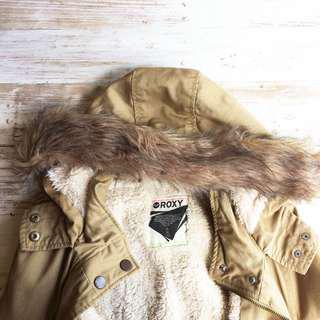 Auth Roxy tan hooded coat