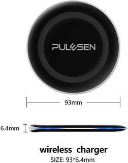 PULESEN Wireless Charger, [Ultra Slim] Qi Wireless Charging Charger Pad for Samsung Galaxy S9 S9 Plus Note 8 S8 S8 Plus S7 S7 Edge S6 Edge Plus Note 5, iPhone X iPhone 8 / 8 Plus