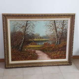 Old oil painting by H .Verner of BC Canada