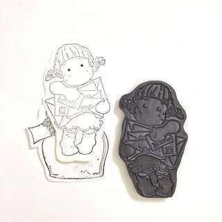 Magnolia girl with letters clear foam cling rubber stamp