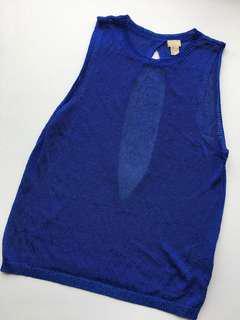 H&M Metallic blue top