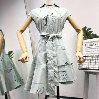 TC2578 Korea Art Printed Irregular Dress