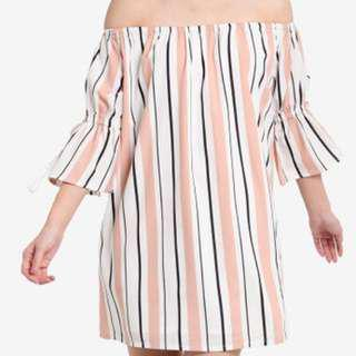 Zalora Off Shoulder Stripes Dress