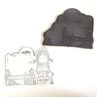 Magnolia fence background clear cling foam rubber stamp