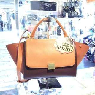 Celine 3 Tone Orange / Brown Red Leather Small Size Classic Trapeze Shoulder Handbag Hand Bag 塞利 橙色 / 啡紅色 拼色 牛皮 皮革 小號 經典款 蝙蝠袋 手挽袋 手袋 肩袋 袋