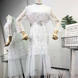 TC2579 Korea Lace Designer Mermaid Dress (White,Pink,Black)