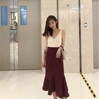素色氣質包臀款長裙魚尾裙