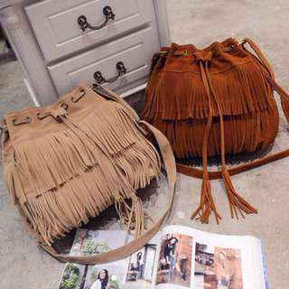 Fringe Bucket Bag in Light Brown