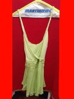 Jill Stuart lime green chiffon braided strap embellished top