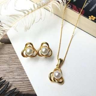 Skin&Moss Vintage復古日本製仿製珍珠優雅之花飾品組珍珠項鍊珍珠耳環夾式耳環