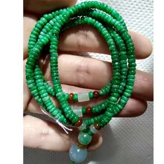4mm滿陽綠算盤珠翡翠項鏈(天然A貨翡翠)