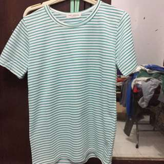 Kaos Green White Stripes