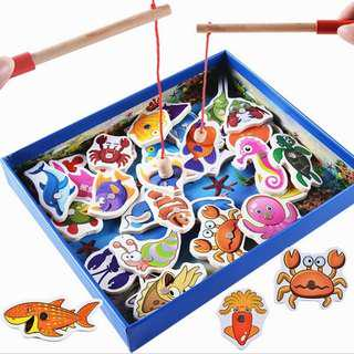 32pcs Wooden Fishing Fish Magnetic Toys