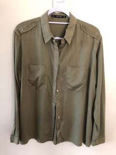 Zara Army Green Button-down with Studs