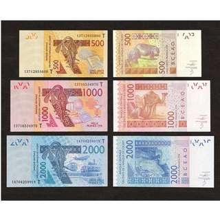 SET 3 PCS 2013-2014 TOGO, WEST AFRICAN STATES 500, 1000, 2000 FRANCS UNC