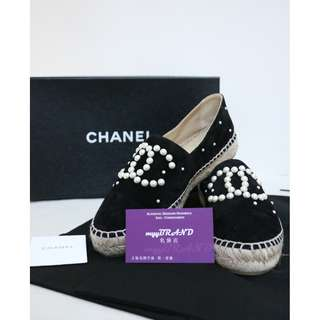 全新 CHANEL MG29762 黑色 麂皮 白色珍珠 平底鞋 鞋 Espadrilles  Black Suede Espadrilles with White Pearl  Ballet Flat