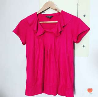 Apple & Eve Fuchsia Pink Blouse (with minor stain)