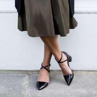 Black patent leather block kitten heel sandals