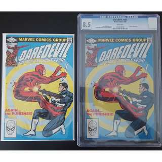 """Daredevil #183, #183 CGC 8.5 (1st Series 1982)- Classic Cover & Battle Royale by Frank Miller! Daredevil VS The Punisher!! Minor KEY Issue, Hot Like Sotong!!! Set of 2 Books, """"One To Read, One To Keep"""" Series."""