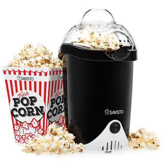 1007. Savisto Hot Air Popcorn Maker with 6 Popcorn Boxes | Electric Popcorn Machine for Healthy, Fat-Free Popcorn - Black