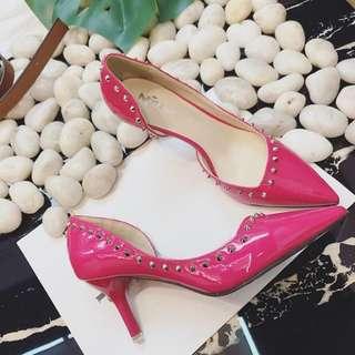 37碼💖漆皮桃紅色 高爭鞋