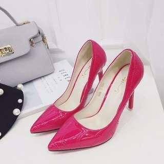37碼💎漆皮壓紋 桃紅色高爭鞋