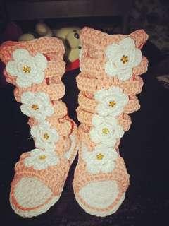 Crochet gladiator shoes