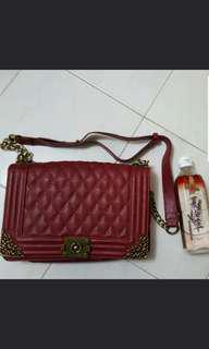 Chanel style dark red handbag