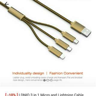 💋Authentic💋LDNIO 3in1Micro &Lightning Cable