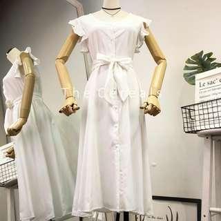 TC2580 Korea Buttons Ribbon Belted Dress (Pink,White)