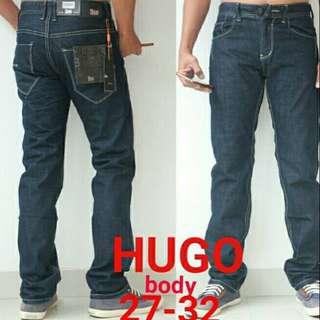 Celana jeans panjang pria Hugo body import Original  blue black