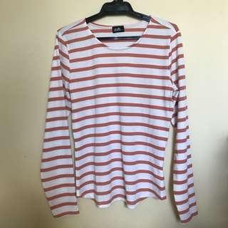 Ribbed stripy long sleeve top