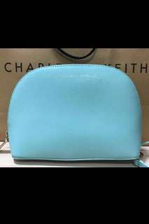 Authentic Brand New Charles and Keith Tiffany blue Large Wristlet/ Pouch/ Wallet