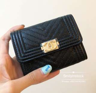 Chanel Boy Chervon Card Purse