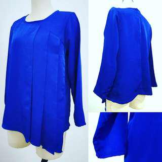 Blue Top with asymmetrical pleats