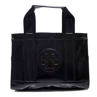 Sale! Authentic Tory Burch Coated Twill black leather tote